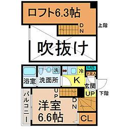 愛知県名古屋市北区辻本通1丁目の賃貸アパートの間取り