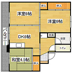 ビレッジハウス下広川 2号棟[2階]の間取り