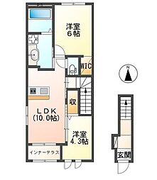 仮)阿見町よしわら1丁目新築アパート 2階2LDKの間取り