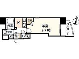 Lutella danbara 5階1Kの間取り