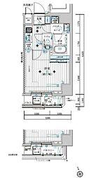 都営大江戸線 若松河田駅 徒歩4分の賃貸マンション 3階1Kの間取り