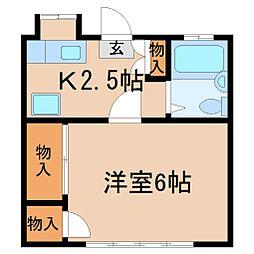 神奈川県鎌倉市大町2丁目の賃貸アパートの間取り