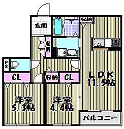 シャーメゾン津久野2[2階]の間取り