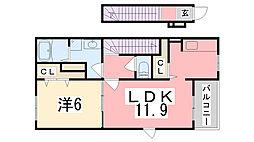 兵庫県姫路市香寺町広瀬森ガ坪の賃貸アパートの間取り