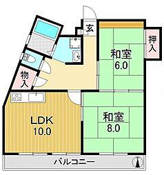 山福マンション[4O2号室号室]の間取り