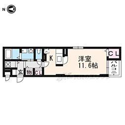 カルムアビタシオン宇治伊勢田 2階1Kの間取り
