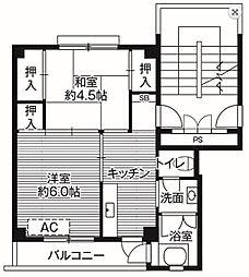 ビレッジハウス高木2号棟[4階]の間取り
