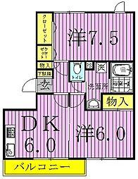 千葉県野田市山崎貝塚町の賃貸マンションの間取り