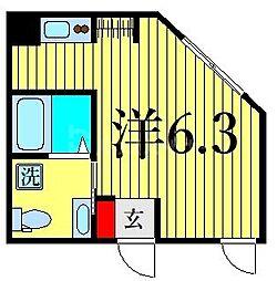 東京メトロ日比谷線 三ノ輪駅 徒歩3分の賃貸マンション 3階ワンルームの間取り