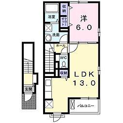 大阪府高槻市大蔵司3丁目の賃貸アパートの間取り