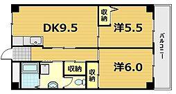 京都府京都市南区吉祥院定成町の賃貸マンションの間取り