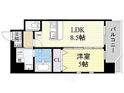 プレジオ江坂2 3階1LDKの間取り
