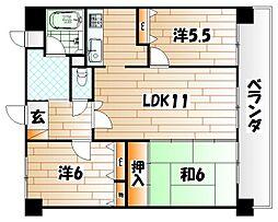 ハイマート若松[11階]の間取り