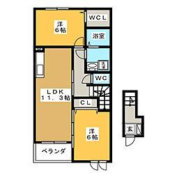 アーバンダンスII−B[2階]の間取り