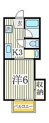 千葉県柏市光ケ丘1の賃貸アパートの間取り