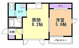 Thermie柏木 2階1DKの間取り
