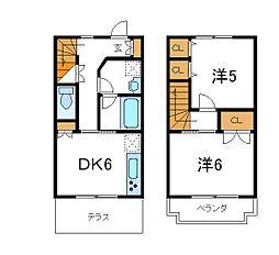 東京メトロ東西線 葛西駅 徒歩15分の賃貸テラスハウス 2DKの間取り