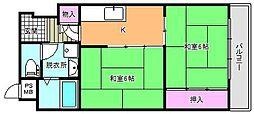 大阪府大阪市東住吉区駒川3丁目の賃貸マンションの間取り