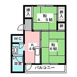 ビレッジハウス杉焼1[3階]の間取り