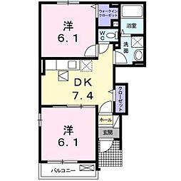 広島県府中市中須町の賃貸アパートの間取り