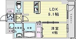 Osaka Metro御堂筋線 新大阪駅 徒歩8分の賃貸マンション 3階1LDKの間取り