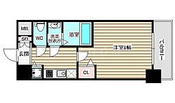 ディクス福島レジデンス 2階1Kの間取り