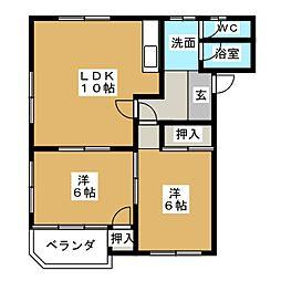 ムーニーテヌート[2階]の間取り