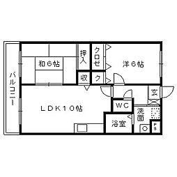 静岡県浜松市中区曳馬2丁目の賃貸マンションの間取り