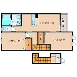 奈良県奈良市帝塚山中町の賃貸アパートの間取り