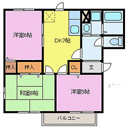 埼玉県鴻巣市南1丁目の賃貸アパートの間取り