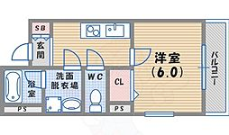 阪神本線 鳴尾・武庫川女子大前駅 徒歩7分の賃貸マンション 3階1Kの間取り
