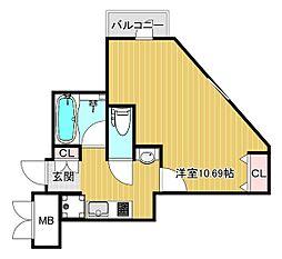 ラファミーユケイ 4階1Kの間取り