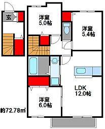 福岡県福岡市東区名子3丁目の賃貸アパートの間取り