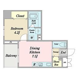 リーフス 7階1DKの間取り