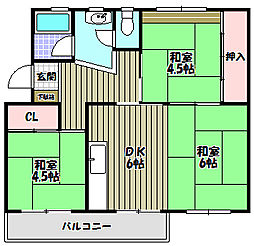 金剛第三住宅223棟[5階]の間取り