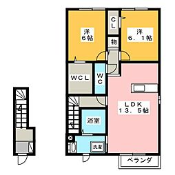 愛知県名古屋市守山区幸心3丁目の賃貸アパートの間取り