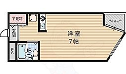 阪急千里線 千里山駅 徒歩14分の賃貸マンション 2階1Kの間取り