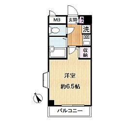 東急東横線 中目黒駅 徒歩7分の賃貸マンション 2階1Kの間取り