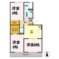 埼玉県吉川市道庭2の賃貸アパートの間取り