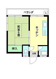 第2むらさき荘[7号室]の間取り