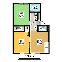 ガーネットハイツA[1階]の間取り