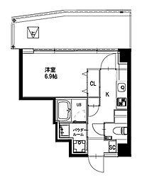 都営新宿線 曙橋駅 徒歩4分の賃貸マンション 6階1Kの間取り