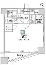 ファーストリアルタワー新宿 3階1Kの間取り