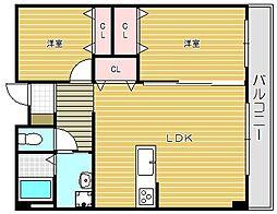 大阪府茨木市三島丘2丁目の賃貸マンションの間取り