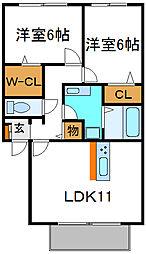 Osaka Metro谷町線 大日駅 徒歩8分の賃貸アパート 2階2LDKの間取り