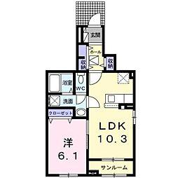 北九州都市モノレール小倉線 徳力嵐山口駅 徒歩16分の賃貸アパート 1階1LDKの間取り