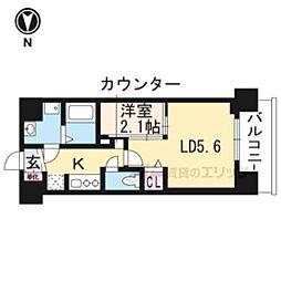 叡山電鉄叡山本線 茶山駅 徒歩3分の賃貸マンション 5階1LDKの間取り