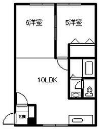 当麻サニープレイス 1階2LDKの間取り