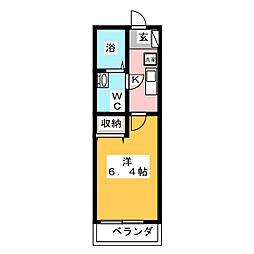 モダンアパートメント鶴見豊岡町 3階1Kの間取り