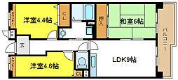 西田辺団地[10階]の間取り